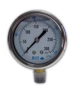 PRESSURE GAUGE 4 LIQ. FILLED TAP 300 PSI