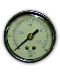 "Pressure Gauge Dry 2"" Dial  1/4""npt Brass Back Econo 30 Psi"