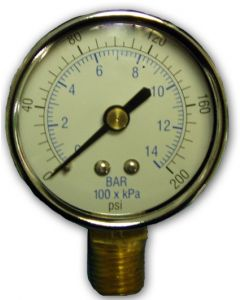 "Pressure Gauge Dry 2"" Dial Face Econo 0-200 Psi"