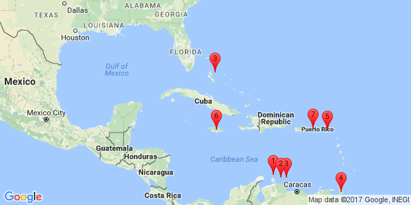 Google Map of Caribbean Islands